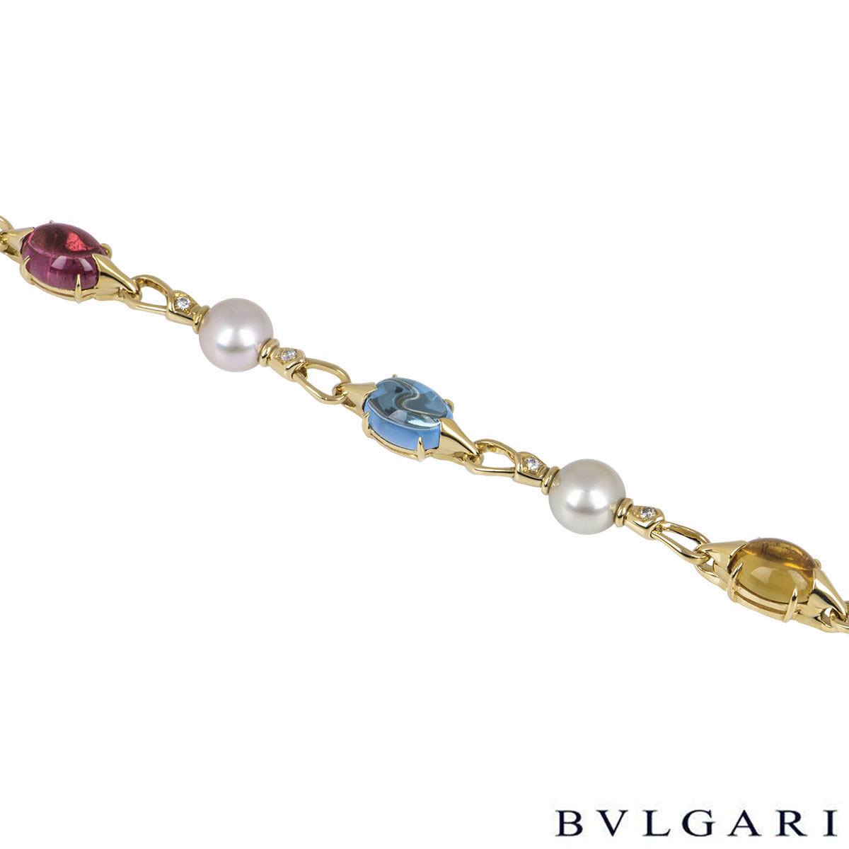 Bvlgari Yellow Gold Pearl & Multi-Gem Allegra Bracelet